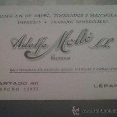 Coleccionismo Papel secante: ANTIGUO PAPEL SECANTE PUBLICIDAD ALMACEN ADOLFO MOLTO PAPELES SEDAS MANILAS TIMBRADOS VALENCIA . Lote 30038688