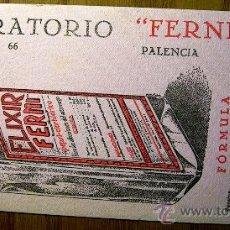 Coleccionismo Papel secante: SECANTE LABORATORIO FERNI, PALENCIA. ELIXIR FERNI Y DORSO IODIN-PEPTONA. AÑOS 20. Lote 30707021