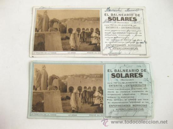2 PAPEL SECANTE BUVARD DE EL BALNEARIO DE SOLARES - AGUA - SANTANDER (Coleccionismo - Papel Secante)