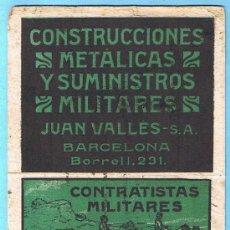 Coleccionismo Papel secante: PAPEL SECANTE CONSTRUCCIONES METÁLICAS Y SUMINISTROS MILITARES JUAN VALLES. BARCELONA.. Lote 31947202