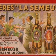Coleccionismo Papel secante: PRECIOSO PAPEL SECANTE FRANCÉS DE CERVEZAS LA SEMEUSE - SIN USAR. Lote 33363069
