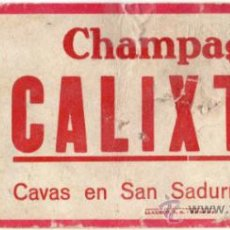 Coleccionismo Papel secante: RARISIMO PAPEL SECANTE - CHAMPAGNE CALIXTUS - CAVAS EN SAN SADURNI DE NOYA - LLAUGER S.A. BARCELONA. Lote 34276108