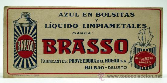 PAPEL SECANTE BRASSO LIMPIAMETALES Y AZUL EN BOLSITAS BILBAO DEUSTO (Coleccionismo - Papel Secante)