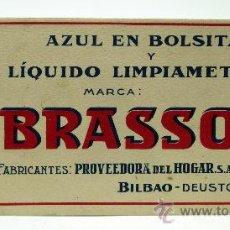 Coleccionismo Papel secante: PAPEL SECANTE BRASSO LIMPIAMETALES Y AZUL EN BOLSITAS BILBAO DEUSTO. Lote 34808727