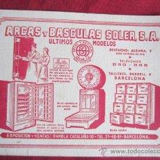 Coleccionismo Papel secante: PAPEL SECANTE - ARCAS Y BASCULAS SOLER, S.A. Lote 35237073