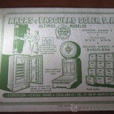 Coleccionismo Papel secante: FOLLETO DE PUBLICIDAD - ARCAS Y BASCULAS SOLER - PAPEL SECANTE - . Lote 36031574