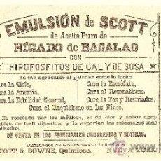 Coleccionismo Papel secante: PAPEL SECANTE EMULSIÓN DE SCOTT DE ACEITE PURO DE HÍGADO DE BACALAO - AÑOS 40. Lote 37676622