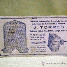 Coleccionismo Papel secante: ANTIGUO PAPEL SECANTE, RADIADORES DE AUTOMOVILES Y AVIONES. J. TORRES, VALENCIA, 1930S. Lote 37716278
