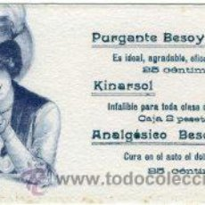 Coleccionismo Papel secante: FARMACIA. PURGANTE 'BESOY'- 'KINARSOL'.- AÑOS 20/30. DIBUJO MODERNISTA.. Lote 126499863