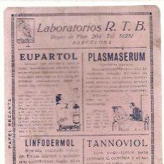 Coleccionismo Papel secante: PAPEL SECANTE, LABORATORIOS R.T.B. . Lote 38031142