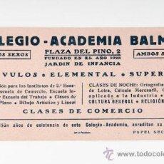 Coleccionismo Papel secante: PROPAGANDA PAPEL SECANTE COLEGIO-ACADEMIA-BALMES. Lote 38710506