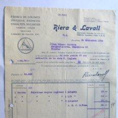 Coleccionismo Papel secante: FACTURA / FABRICA DE SECANTES - PINTURAS / BARCELONA AÑO 1934 / RIERA Y LAVALL /. Lote 38916940