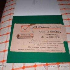 Coleccionismo Papel secante: RARO ANUNCIO AÑOS 30-40 PAPEL SECANTE DE RHINO-LACTEOL. Lote 39061003