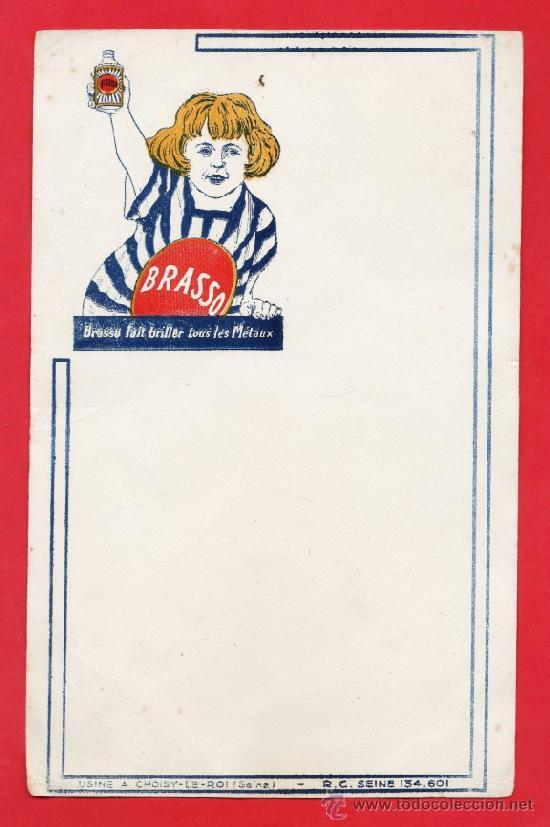 PAPEL SECANTE - LIMPIAMETALES BRASSO - FRANCIA - AÑOS 40 / 50 - RD11 (Coleccionismo - Papel Secante)