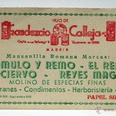 Coleccionismo Papel secante: SECANTE HIJO GAUDENCIO CALLEJA MANZANILLA ROMANA ROMULO REMO CONDIMENTOS ESPECIAS MADRID 1955. Lote 47484525