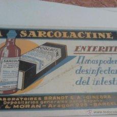 """Coleccionismo Papel secante: PAPEL SECANTE PUBLICITARIO """"LA SARCOLACTINE"""". ENTERITIS (LABORAT. BRANDT, AÑOS 30). 21X12.4. Lote 39940257"""