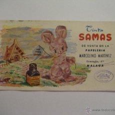 Coleccionismo Papel secante: SECANTE TINTA SAMAS CON PUBLICIDAD PAPELERIA MARCELINO MARTÍNEZ, MÁLAGA (PAPELERÍA HELIOS). Lote 35461998