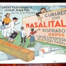 Coleccionismo Papel secante: ANTIGUO SECANTE PUBLICIDAD FARMACIA, NASALITAL, RESFRIADOS, GRIPE, LABORATORIOS ANDROMACO, 16,5 X 11. Lote 97544842