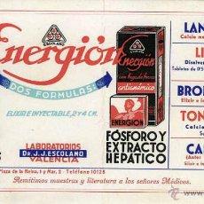 Coleccionismo Papel secante: SECANTE PUBLICIDAD FARMACIA ENERGION LABORATORIO DR. J. J. ESCOLANO. VALENCIA. Lote 40806228