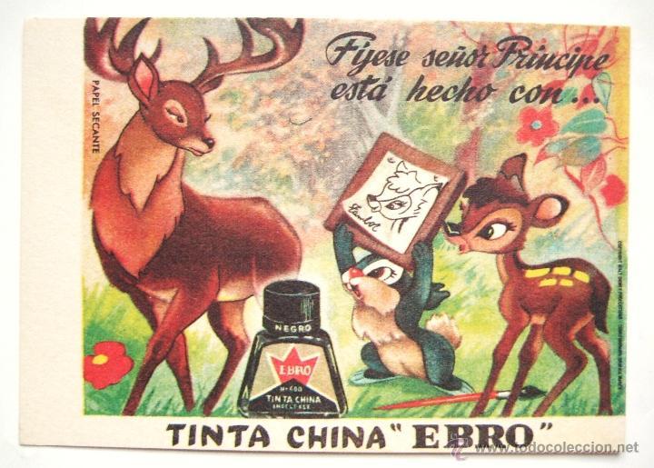 PAPEL SECANTE CON PUBLICIDAD DE TINTA CHINA BORRATINTAS EBRO. BAMBI WALT DISNEY (Coleccionismo - Papel Secante)