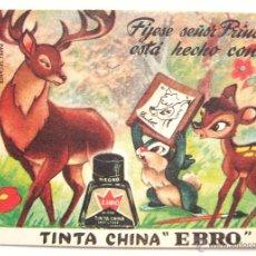Coleccionismo Papel secante: PAPEL SECANTE CON PUBLICIDAD DE TINTA CHINA BORRATINTAS EBRO. BAMBI WALT DISNEY. Lote 41186964