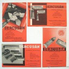Coleccionismo Papel secante: LOTE 4 PAPEL SECANTE ANTISEPTICO DESINFECTANTE DERCUSAN PRODUCTOS DE FARMACIA AÑOS 50 (SECANTES). Lote 41192083