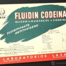 Coleccionismo Papel secante: CARTEL MEDICAMENTO PAPEL SECANTE FLUIDIN CODEINA LABORATORIOS LASA. Lote 41689749