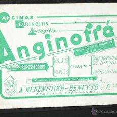 Coleccionismo Papel secante: CARTEL MEDICAMENTO PAPEL SECANTE ANGINOFREN LABORATORIOS AUBER. Lote 41690008