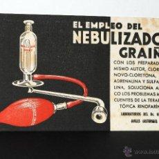 Coleccionismo Papel secante: CARTEL MEDICAMENTO PAPEL SECANTE NEBULIZADOR GRAIÑO LABORATORIOS DR. GRAIÑO. Lote 41690636
