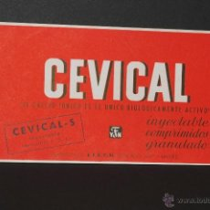 Coleccionismo Papel secante: CARTEL MEDICAMENTO PAPEL SECANTE CEVICAL LABORATORIOS E. F. E. Y. N.. Lote 41691191