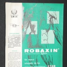 Coleccionismo Papel secante: CARTEL MEDICAMENTO PAPEL SECANTE ROBAXIN LABORATORIOS LASA. Lote 41691346