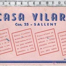 Coleccionismo Papel secante: PAPEL SECANTE PUBLICIDAD CASA VILARÓ-SALLENT.. Lote 42012970