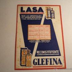 Coleccionismo Papel secante: PAPEL SECANTE CON PUBLICIDAD. RECONSTITUYENTE LASA GLEFINA. Lote 42257793