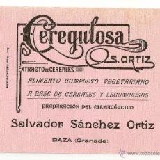 Coleccionismo Papel secante: PAPEL SECANTE CON PROPAGANDA CEREGULOSA 20X15 CENTÍMETROS . Lote 42264348