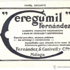Coleccionismo Papel secante: PAPEL SECANTE CON PROPAGANDA CEREGUMIL 18X13 CENTÍMETROS . Lote 42264365