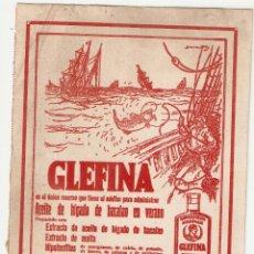 Collezionismo Carta assorbente: PAPEL SECANTE CON PROPAGANDA GLEFINA 24X16 CENTÍMETROS. Lote 42264390