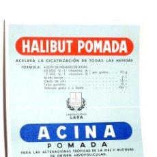Coleccionismo Papel secante: CARTEL MEDICAMENTO PAPEL SECANTE HALIBUT POMADA, LABORATORIOS LASA. Lote 42478117