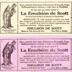 Coleccionismo Papel secante: 2 HOJAS PAPEL SECANTE - *LA EMULSIÓN DE SCOTT* - IMPECABLES. Lote 42491244