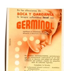 Coleccionismo Papel secante: CARTEL MEDICAMENTO PAPEL SECANTE GERMINOL, LABORATORIOS DR. ANDREU. Lote 42504638