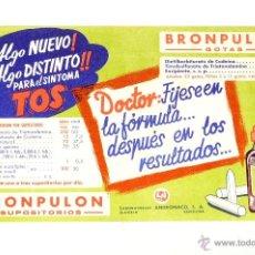 Coleccionismo Papel secante: CARTEL MEDICAMENTO PAPEL SECANTE BRONPULON, LABORATORIOS ANDROMACO, S.A.. Lote 42504732