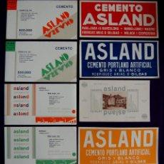 Coleccionismo Papel secante: 8 SECANTES DIFERENTES DE CEMENTO ASLAND. AÑOS 40. (PAPEL SECANTE PUBLICITARIO) BILBAO, VIZCAYA. Lote 130107912