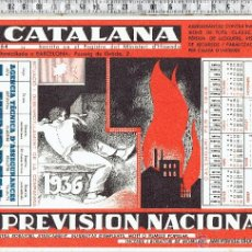 Collectionnisme Papier buvard: PAPEL SECANTE COMPAÑIA SEGUROS LA CATALANA-LA PREVISION NACIONAL-1936.. Lote 44121853