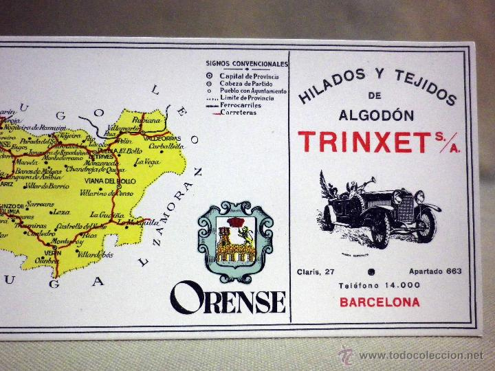 PAPEL SECANTE, HILADOS Y TEJIDOS, TRINXET, DE BARCELONA, SERIE MAPA O PLANO DE PROVINCIA ORENSE (Coleccionismo - Papel Secante)