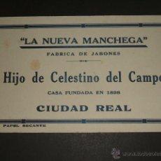 Collezionismo Carta assorbente: CIUDAD REAL FABRICA DE JABONES LA NUEVA MANCHEGA SECANTE AÑOS 20. Lote 45632844