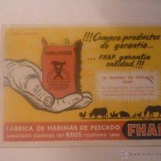 Coleccionismo Papel secante: AÑOS 50. FHAP HARINAS DE PESCADO. SIN USAR. EL DE LA FOTO. Lote 45857637
