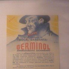 Coleccionismo Papel secante: AÑOS 50. GERMINOL, PARA AFECCIONES DE BOCA Y GARGANTA. SIN USAR. EL DE LA FOTO. PRECIOSO. Lote 45857653