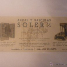 Coleccionismo Papel secante: FÁBRICA NACIONAL DE ARCAS Y BÁSCULAS SOLER. FONDO DIBUJOS COLOR VERDE. DIMENSIONES 10 X 22,5 CM. Lote 45857794