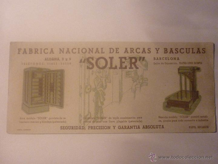 FÁBRICA NACIONAL DE ARCAS Y BÁSCULAS SOLER. FONDO DIBUJOS COLOR AZUL. DIMENSIONES 10 X 22,5 CM (Coleccionismo - Papel Secante)