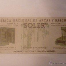 Coleccionismo Papel secante: FÁBRICA NACIONAL DE ARCAS Y BÁSCULAS SOLER. FONDO DIBUJOS COLOR AZUL. DIMENSIONES 10 X 22,5 CM. Lote 45857802