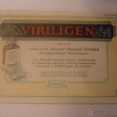 Coleccionismo Papel secante: PRECIOSO SECANTE DE GRANDES MEDIDAS 18,5 X 12 CM. VIRILIGEN, PARA LA NEUROSIS SEXUAL, ESCASA VIRILID. Lote 46006151